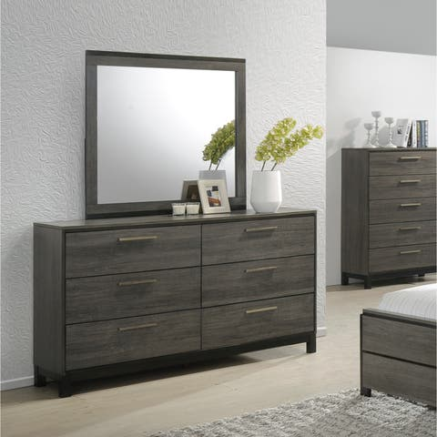 Ioana 187 Antique Grey Finish Wood Dresser and Mirror