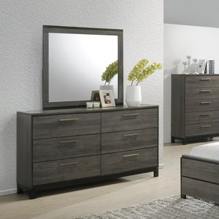 Ioana 187 Antique Grey Finish Wood Dresser and Mirror