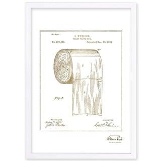 OliverGal'Toilet-paper roll 1891, Gold Metallic' Framed Art