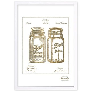 OliverGal'Mason Jar - Adapted 1853, Gold Metallic' Framed Art