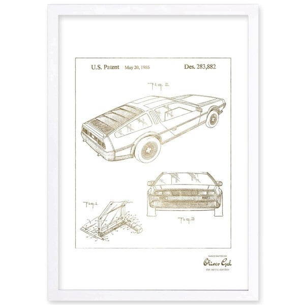 OliverGal'Delorean 1986, Gold Metallic' Framed Art