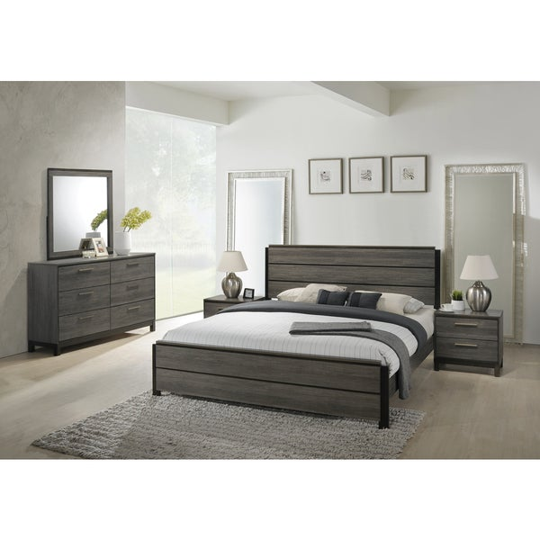 Ioana 187 Antique Grey Finish Wood Bed Room Set, King Size Bed, Dresser, Mirror, 2 Night Stands by Generic