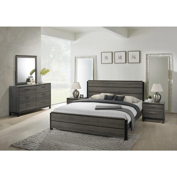 Bedroom Furniture Sets Sale Online: Shop Ioana 187 Antique Grey Finish Wood Bed Room Set, King