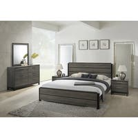 Ioana 187 Antique Grey Finish Wood Bed Room Set, King Size Bed, Dresser, Mirror, 2 Night Stands
