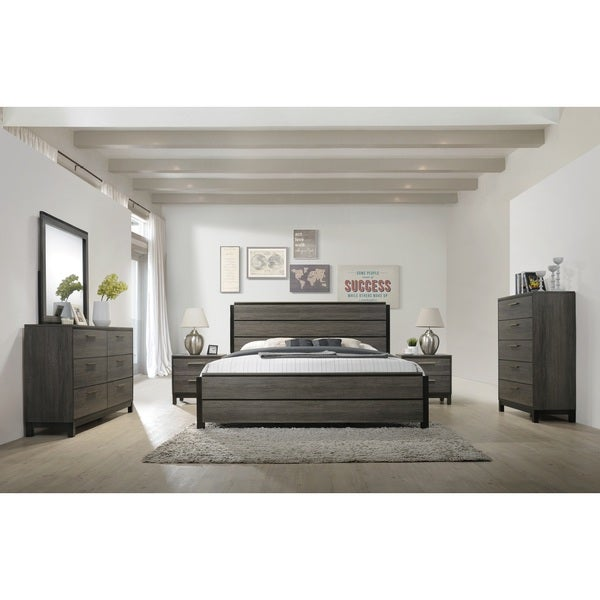Ioana 187 Antique Grey Finish Wood Bed Room Set King Size Bed Dresser Mirror 2 Night Stands
