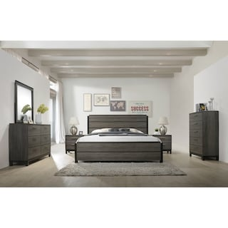 a0df62440 Shop Ioana 187 Antique Grey Finish Wood Bed Room Set, King Size Bed ...
