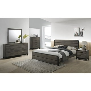 Ioana 187 Antique Grey Finish Wood Bed Room Set, King Size Bed, Dresser, Mirror, Night Stand, Chest