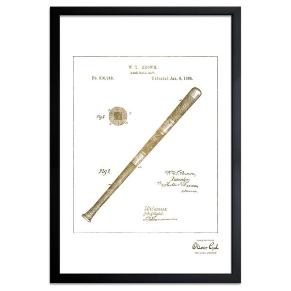 OliverGal'Baseball Bat1885, Gold Metallic' Framed Art