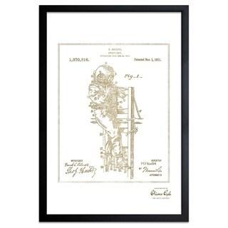 OliverGal'Houdini's Diver Suit 1921, Gold Metallic' Framed Art