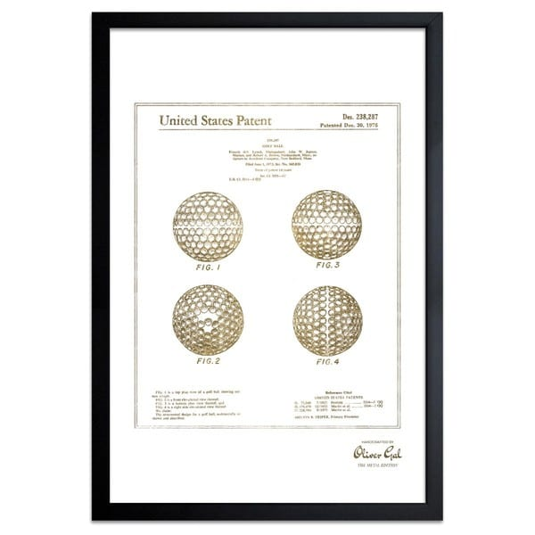 OliverGal'Golf Ball 1975, Gold Metallic' Framed Art