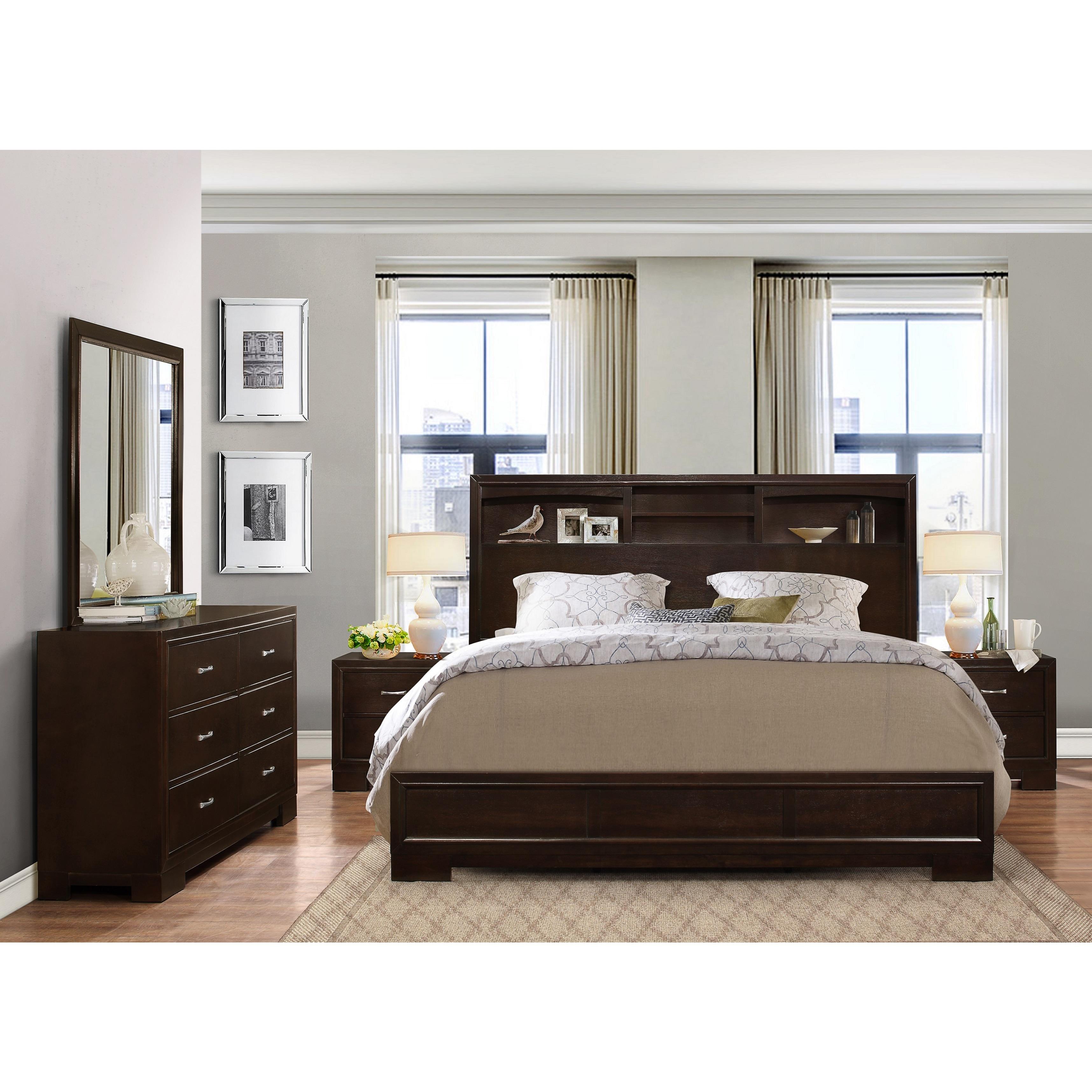 Shop Montana Walnut Modern 4 Piece Wood Bedroom Set With Queen Bed