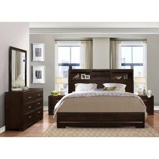 Montana Walnut Modern 4-Piece Wood Bedroom Set with Queen Bed, Dresser, Mirror, 2 Nightstands