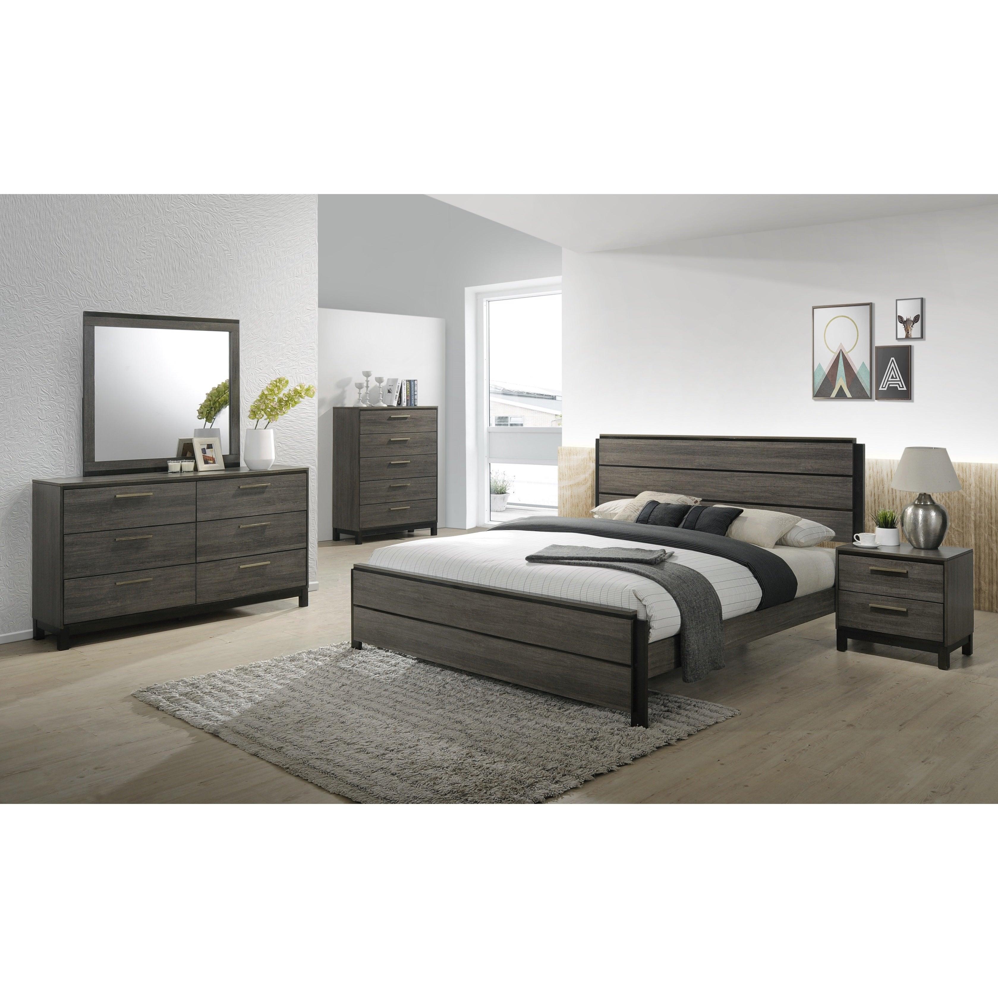 Carbon Loft Lippmann Antique Grey Finish Wood Queen Size Bedroom Set