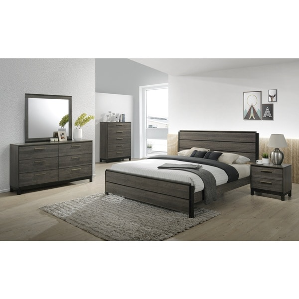 Delightful Carbon Loft Lippmann Antique Grey Finish Wood Bedroom Set