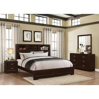Montana Walnut Modern 4-Piece Wood Bedroom Set with Queen Bed, Dresser, Mirror, Nightstand