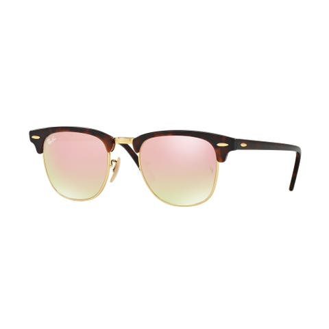 Ray-Ban Clubmaster RB3016 990/7O Unisex Tortoise/Gold Frame Copper Gradient Flash Lens Sunglasses
