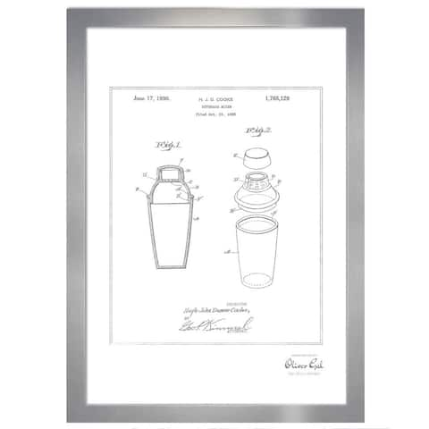 Oliver Gal 'Cocktail mixer 1930, Silver Metallic' Framed Art