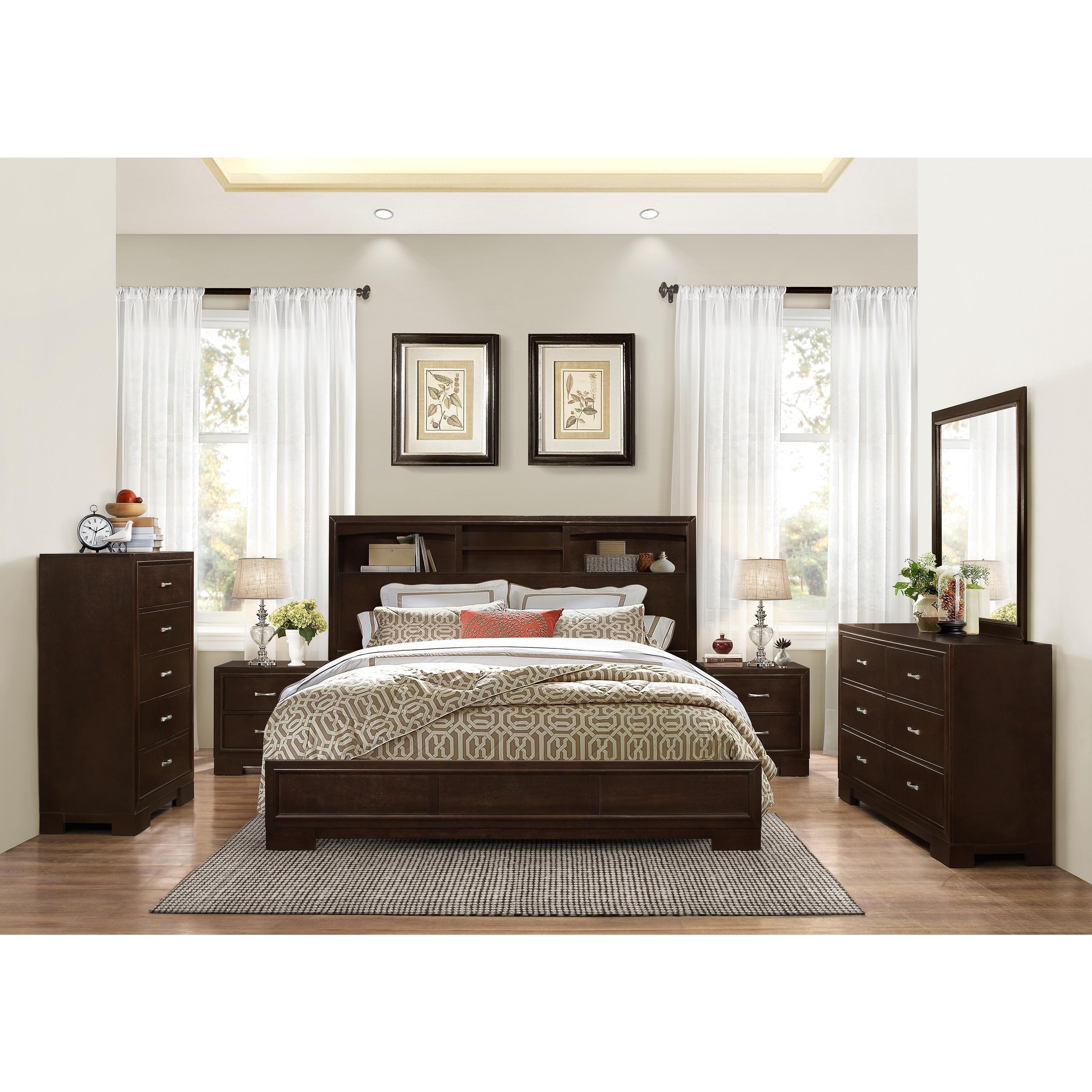 Montana Walnut Modern 4-Piece Wood Bedroom Set with King Bed, Dresser,  Mirror, 2 Nightstands, Chest
