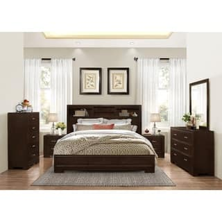 montana walnut modern 4 piece wood bedroom set with king bed dresser mirror - King Bed Bedroom Sets