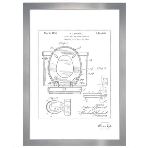 Oliver Gal 'Toilet Seat 1956, Silver Metallic' Framed Art
