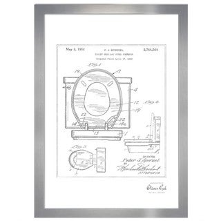Oliver Gal 'Toilet Seat 1956, Silver Metallic' Framed Art