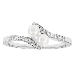 H Star Sterling Silver Pearl and Diamond Accent Promise Ring (I-J, I2-I3)
