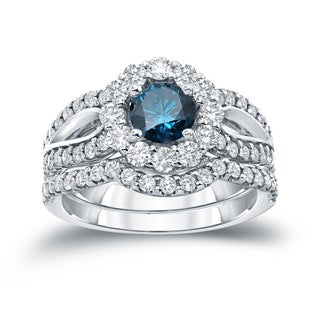 Auriya 14k Gold 2 1/3ct TDW Round Cut Diamond Halo Bridal Ring Set (Blue SI1-SI2)
