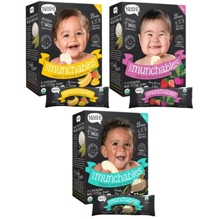 Nosh Baby Munchables Organic Rice Teething Wafers Sampler (Pack of 3)