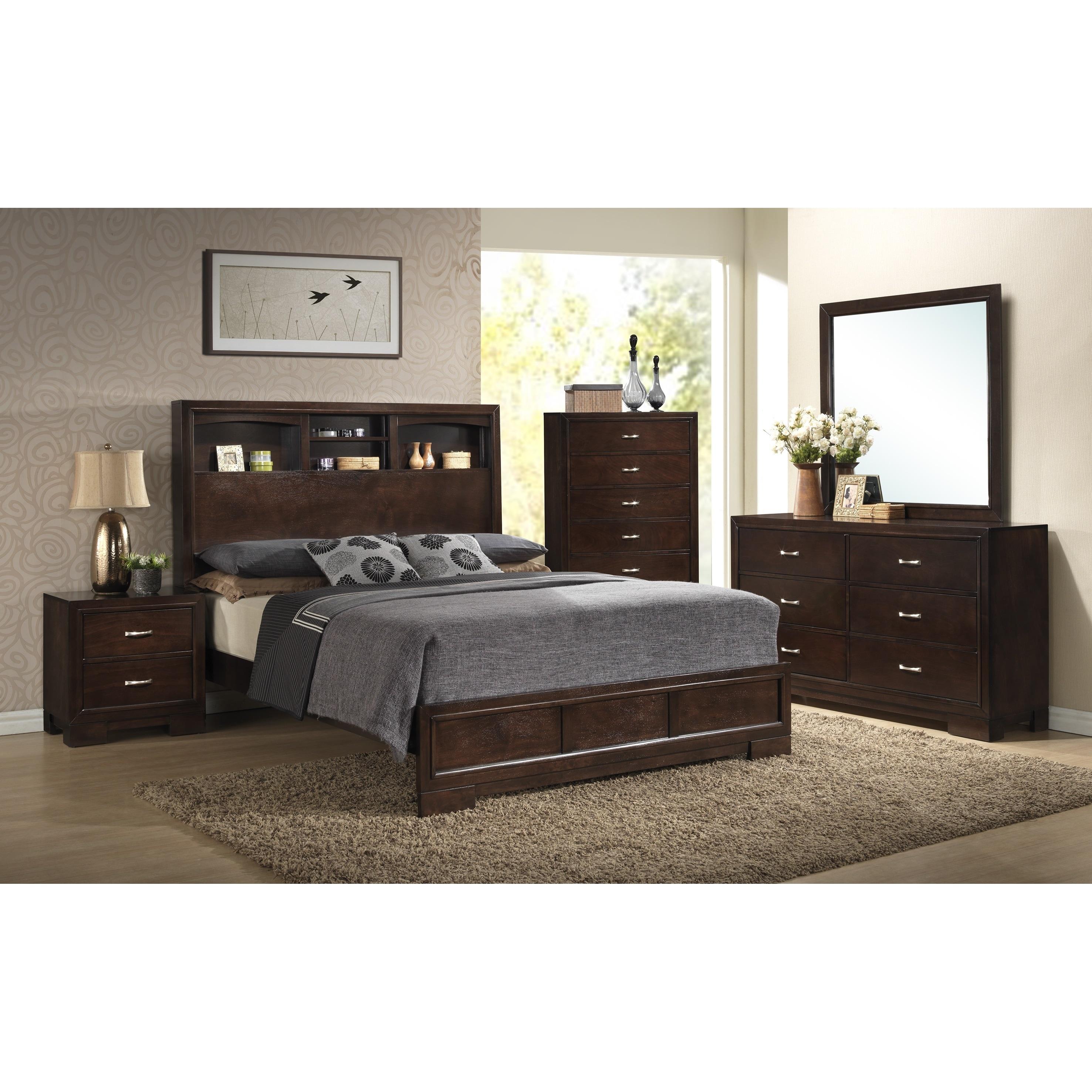 Montana Walnut Modern 4-Piece Wood Bedroom Set with King Bed, Dresser,  Mirror, Nightstand, Chest