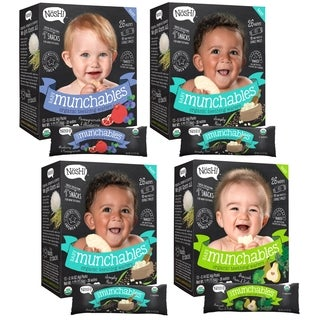 Nosh Baby Munchables Organic Rice Teething Wafers 26-piece Sampler Pack (Pack of 4)