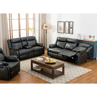 Novia 2 Piece Leather-Air Double Recling Sofa & Loveseat