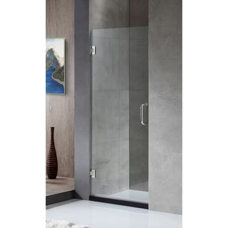 ANZZI FELLOW Series 24 in. by 72 in. Frameless Hinged shower door in Chrome with Handle