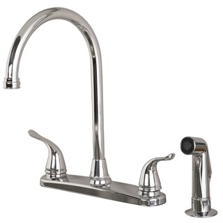 Builders Shoppe 1210 Two Handle High Arc Kitchen Faucet with Side Spray