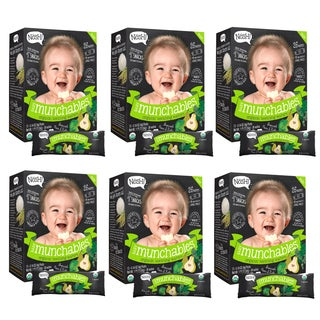 Nosh Baby Broccoli Pear and Kale Munchables Organic Rice Teething Wafers (Pack of 6 26-piece Boxes)