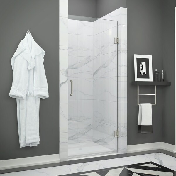 ANZZI FELLOW Series 24 in. by 72 in. Frameless Hinged shower door in Brushed Nickel with Handle