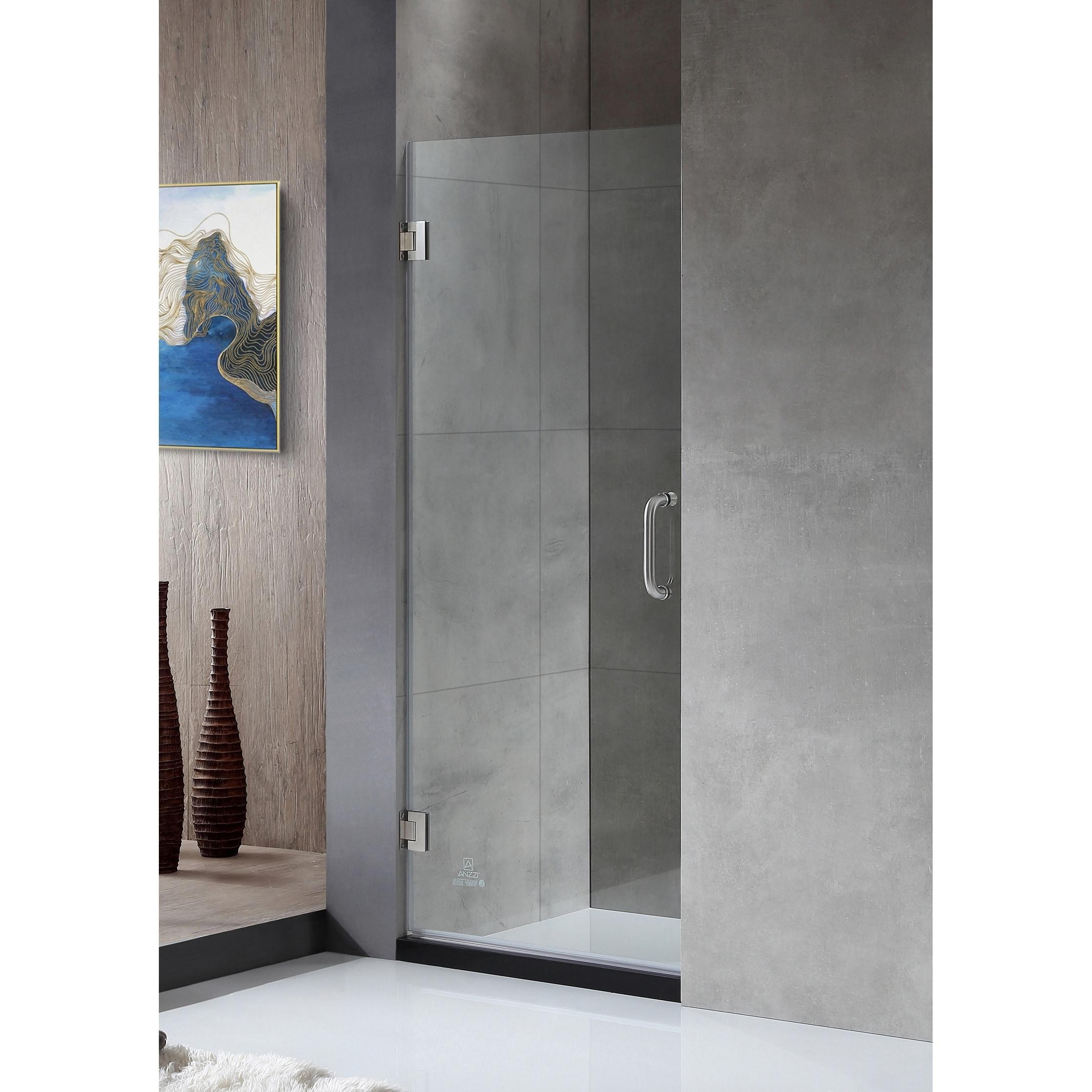 Anzzi Fellow 24 X 72 Frameless Hinged Shower Door In Brushed Nickel