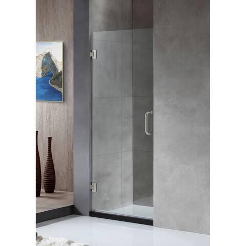 "ANZZI Fellow 24"" x 72"" Frameless Hinged Shower Door in Brushed Nickel"