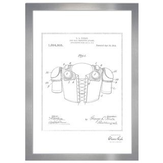 Oliver Gal 'Foot-ball protective apparel 1914, Silver Metallic' Framed Art