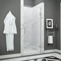 ANZZI FELLOW Series 30 in. by 72 in. Frameless Hinged shower door in Brushed Nickel with Handle