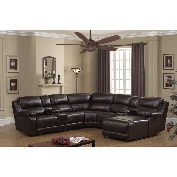 Colton 7 Piece Dark Brown Leather Power Reclining Sectional with storage Console and Chaise  sc 1 st  Overstock.com : power sectional - Sectionals, Sofas & Couches
