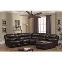 Colton 7 Piece Dark Brown Leather Power Reclining Sectional with storage Console and Chaise