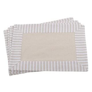 Striped Border Printed Design Cotton Linen Placemat - Set of 4