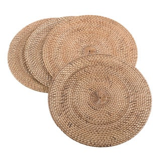 Natural Decorative Round Woven Rattan Placemat - Set of 4