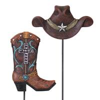 Exhart Resin Cowboy Hat and Boot Plant Stakes (Set of 2)