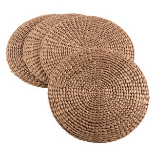 Natural Water Hyacinth Decorative Round Hand Woven Rattan Placemat - Set of 4