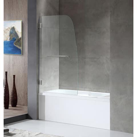 "ANZZI Grand 34"" x 58"" Frameless Hinged Tub Door in Brushed Nickel"