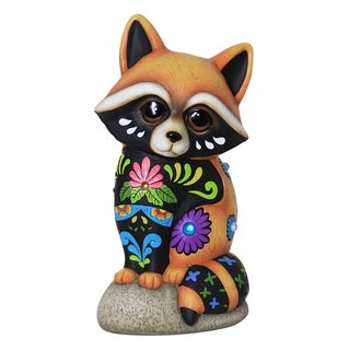 Exhart Raccoon Multicolor Resin Statue