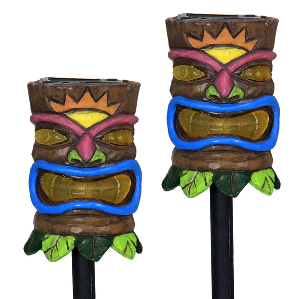 Shop Tiki Face 15 Inch Solar Plant Stakes Set Of 2