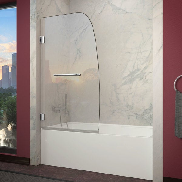 Anzzi Grand Series 34 X 58 Inch Chrome Frameless Fixed Tub Door