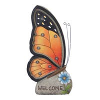 Exhart 'Welcome' Orange Butterfly Solar Marquee
